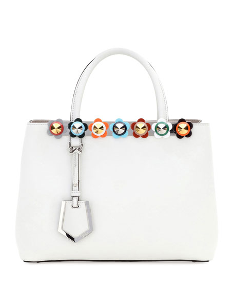 Fendi 2Jours Petite Floral-Studded Satchel Bag, White Pattern
