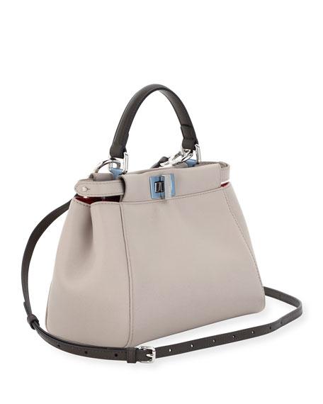 Peekaboo Mini Leather Satchel Bag, Light Gray