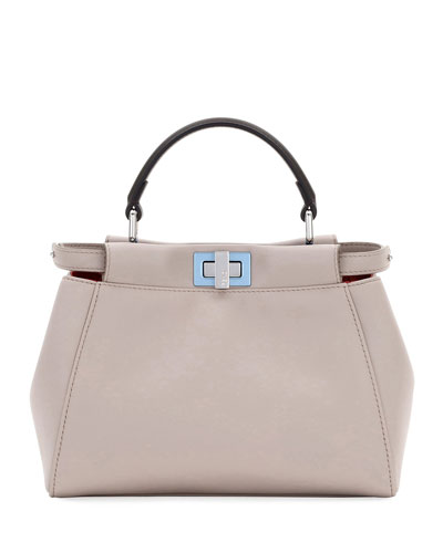 Peekaboo Mini Leather Satchel Bag, Light Gray