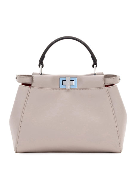 Fendi Peekaboo Mini Leather Satchel Bag, Light Gray