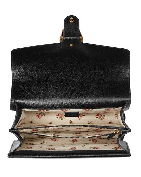 Dionysus Embroidered Leather Shoulder Bag, Black
