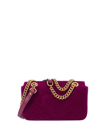 Velvet Gg Marmont 2 0 Mini Shoulder Bag Fuchsia