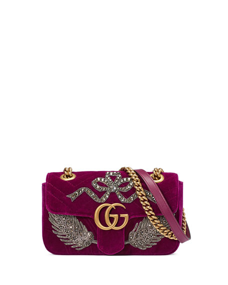 VELVET GG MARMONT 2.0 MINI SHOULDER BAG, FUCHSIA