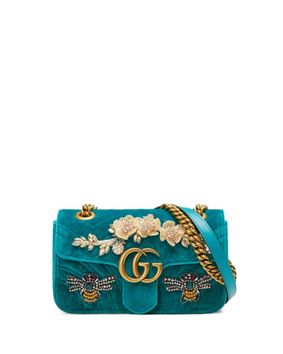 Marmont 2.0 Suede Chain Shoulder Bag, Green Pattern