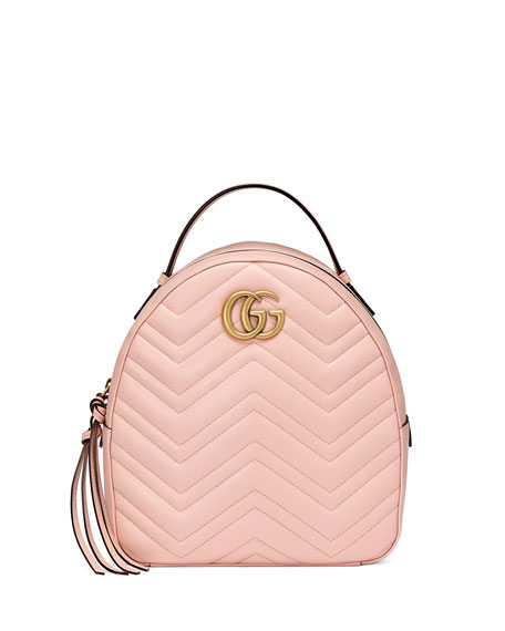 GG Marmont Quilted Leather Backpack, Light Pink