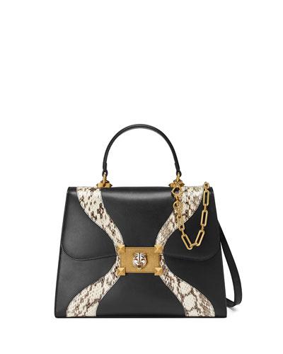 Linea Medium Leather & Snakeskin Top-Handle Bag, Black Pattern