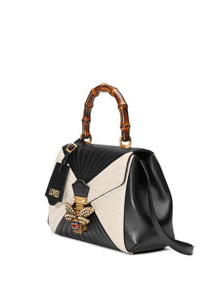 Queen Margaret Linea Medium Bee Bamboo Top-Handle Bag, Black/Multi