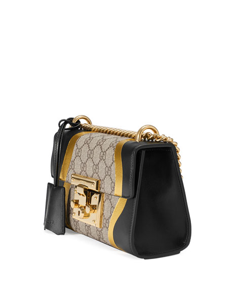 Small Padlock Chain Shoulder Bag, Black Pattern