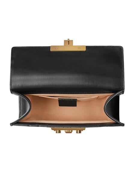 Small Padlock Chain Shoulder Bag, Black Pattern