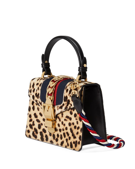 Sylvie Small Calf Hair Top-Handle Bag, Neutral Pattern