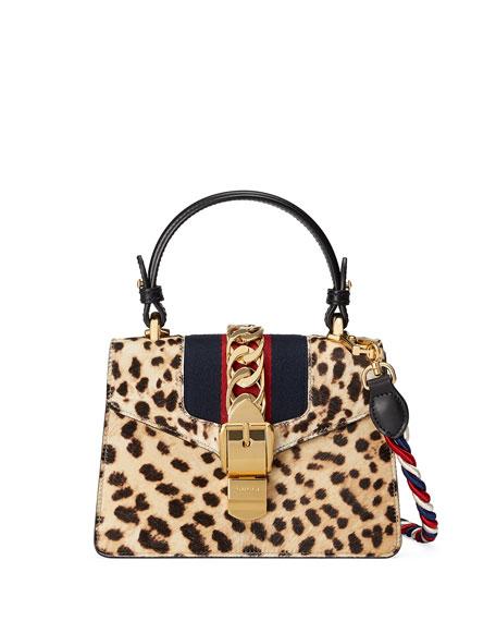 Sylvie Small Calf Hair Top-Handle Bag, Neutral Pattern