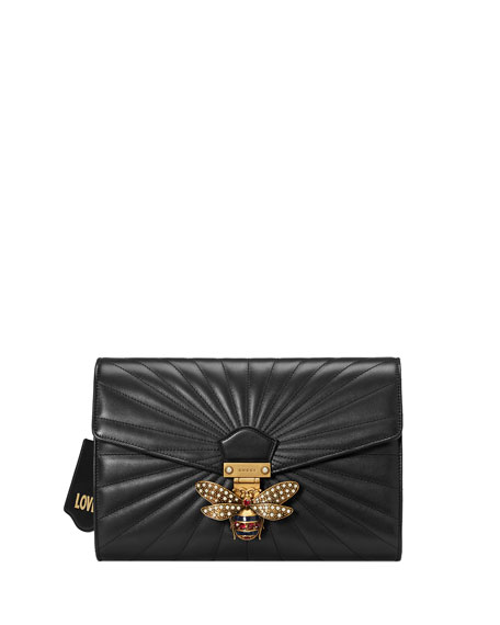 87cc05bce89cf6 Gucci Linea Quilted Leather Bee Clutch Bag