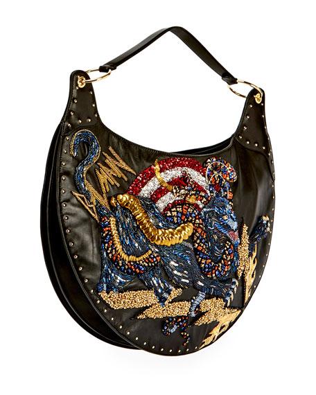 Domaine Panther-Embroidered Shoulder Bag, Black
