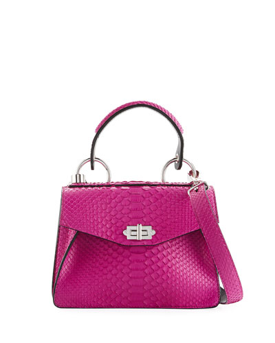 Hava Small Python Top-Handle Bag