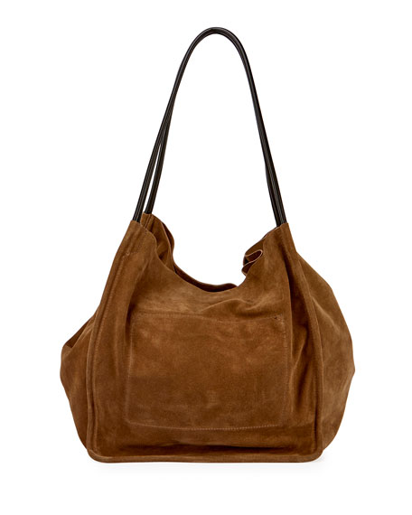 Extra-Large Suede Tote Bag, Beige