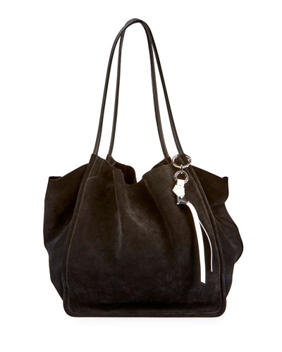 Extra-Large Suede Tote Bag, Black
