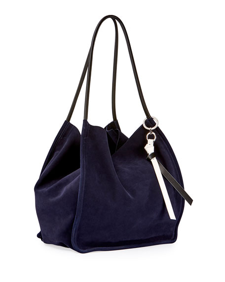 Extra-Large Suede Tote Bag, Blue