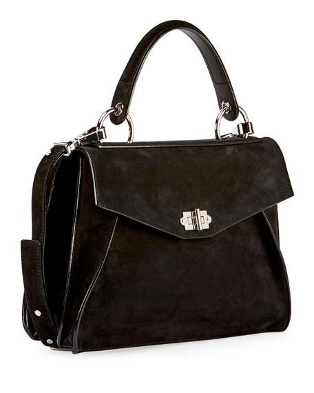 Hava Medium Nubuck Top-Handle Satchel Bag, Black
