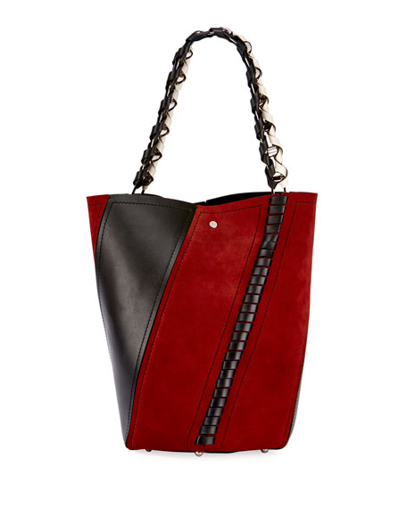 Medium Hex Whipstitch Bucket Bag, Red Pattern
