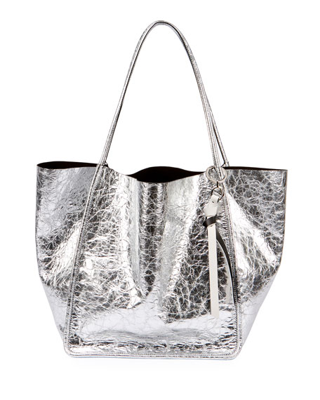 Extra-Large Crackled Metallic Tote Bag, Gray
