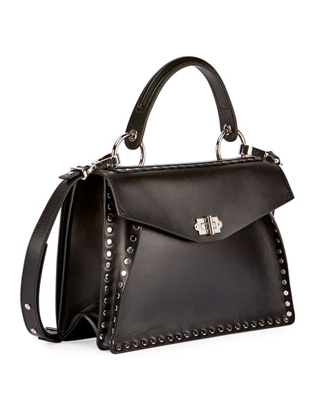 Hava Medium Top-Handle Satchel Bag, Black