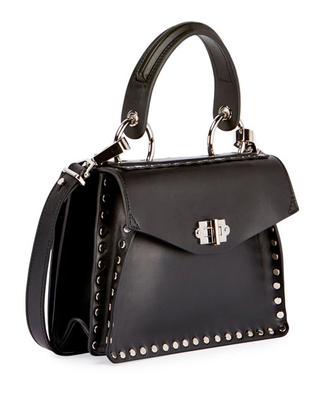 Small Hava Studded Top-Handle Bag, Black