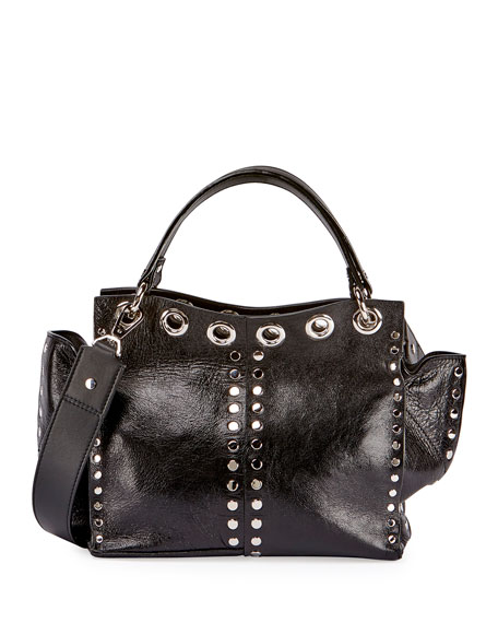 Curl Studded Leather Top-Handle Bag, Black