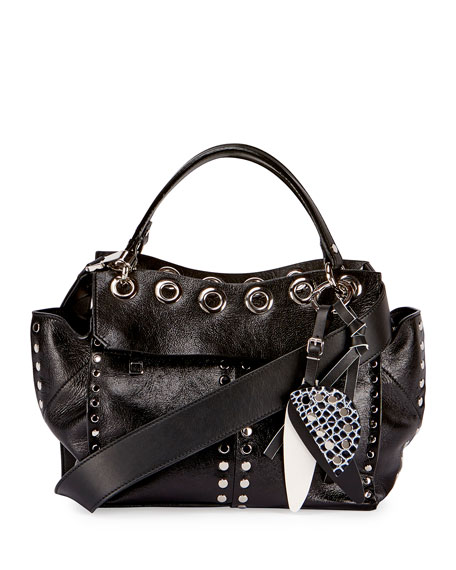 Curl Studded Leather Top-Handle Bag, Black