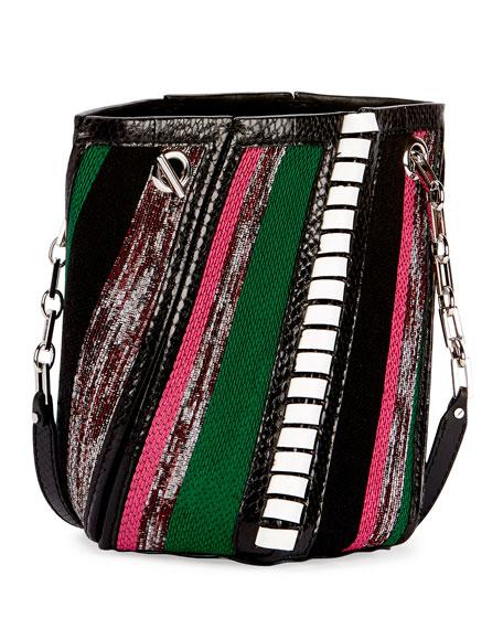 Hex Mini Mixed-Media Bucket Bag, Black/Multi