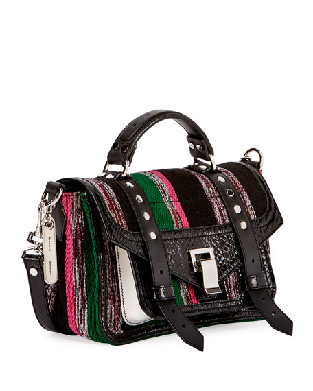 PS1 Medium Mixed-Media Satchel Bag, Black