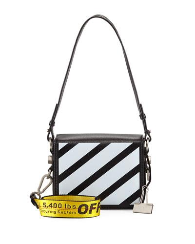 Diagonal Colorblock Leather Flap Shoulder Bag