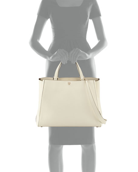 Triennale Large Leather Top-Handle Bag, White