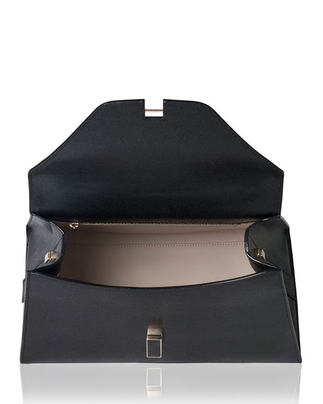 Iside Leather Top-Handle Bag, Black