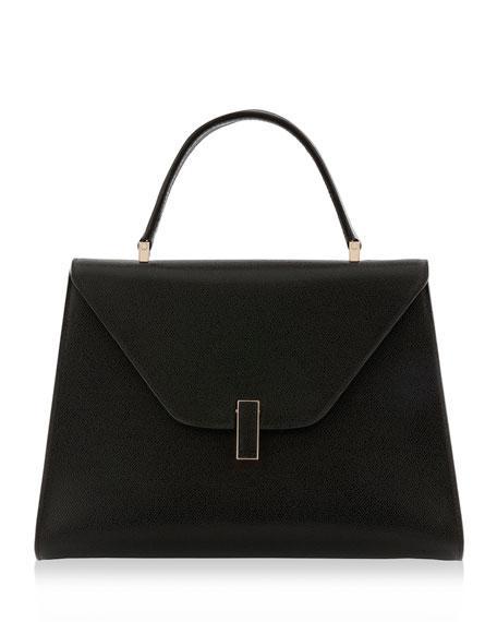 Iside Leather Top-Handle Bag, Black