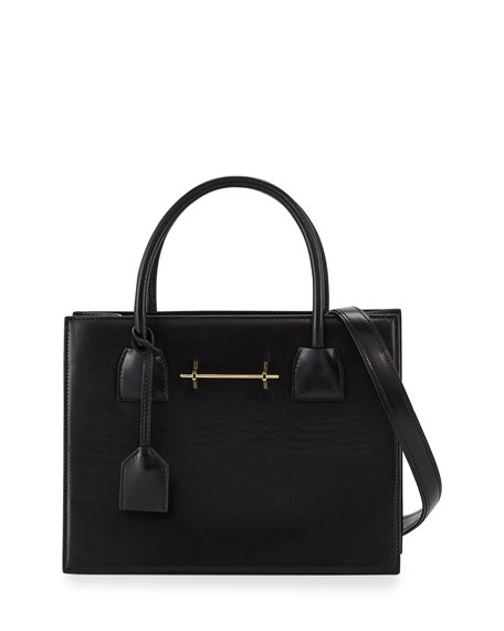 Leather Mini Tote Bag, Black