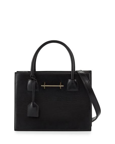 Leather Mini Tote Bag, Black