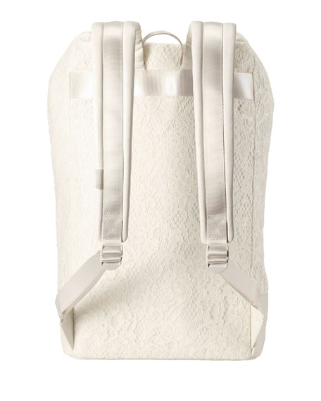 Lace Roll-Down Backpack, White