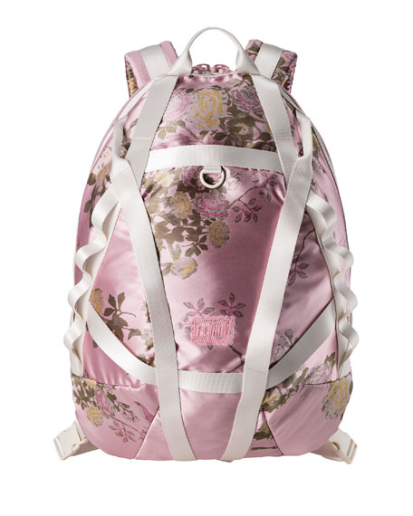 Floral Jacquard Parachute Backpack, Pink