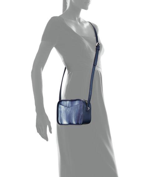 Spring Mini Faded Crossbody Bag, Blue/White