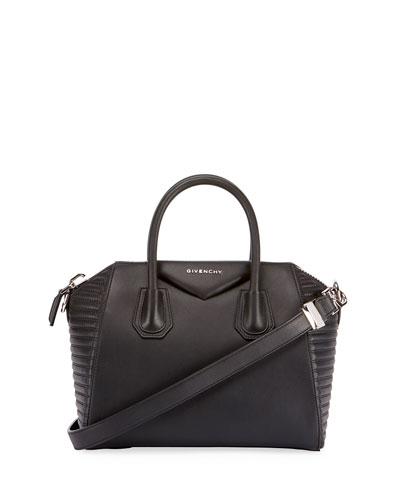 Antigona Small Biker-Stitched Satchel Bag, Black