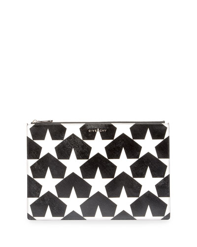 Iconic Prints Star-Print Large Pouch Bag, Black/White