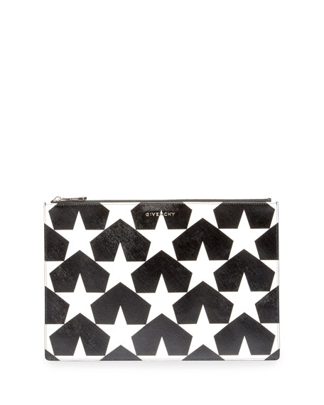 Givenchy Iconic Prints Star-Print Large Pouch Bag, Black/White
