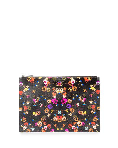 Iconic Prints Night Pansy Large Pouch Bag, Multi