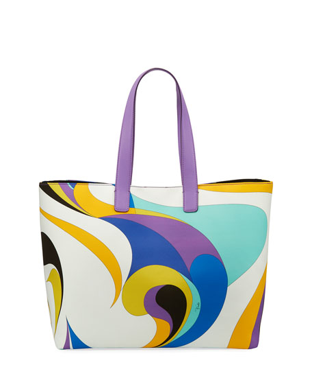 Maschere Printed Canvas Tote Bag, Blue Pattern