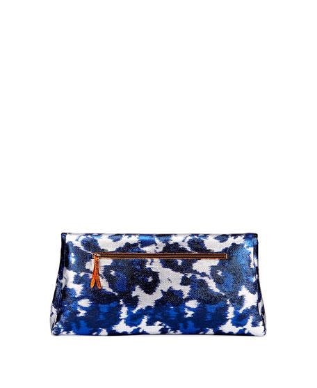 Ikat-Print Lamé Clutch Bag, Blue