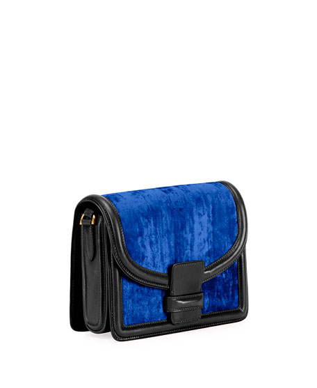 Large Velvet Shoulder Bag, Blue
