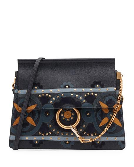 Faye Studded Floral Shoulder Bag, Blue