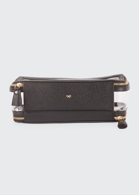 Inflight Patent Leather Clear Pouch, Black