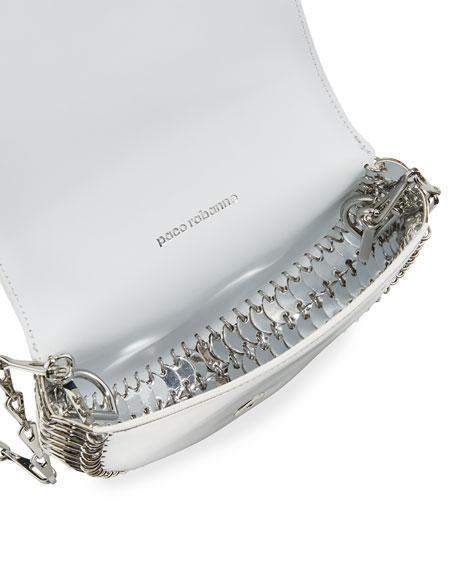 1402 Metallic Half Moon Mini Chain Bag, Silver