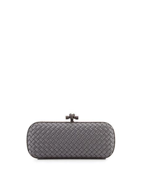 Satin Elongated Knot Clutch Bag, New Light Gray
